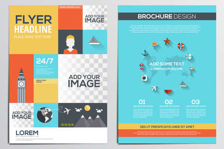beach ad: Brochure Design Template. Geometric shapes, Abstract Modern Backgrounds, Infographic ,Travel Concept.Flat design. Vector Illustration