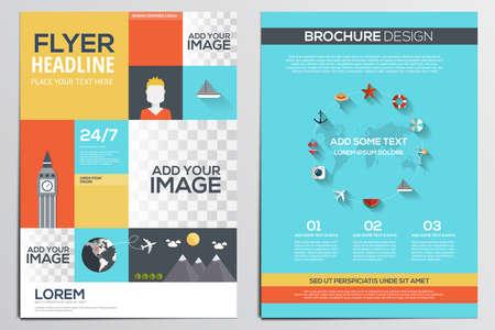 Brochure Design Template. Geometrische vormen, abstracte moderne achtergronden, Infographic, Travel Concept.Flat ontwerp. Vector