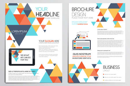 Brochure Design Template. Geometric shapes, Abstract Modern Backgrounds, Infographic Concept.Flat design. Vector Illusztráció