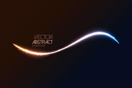 Glittering dust tail. Twinkling glitter. Vector