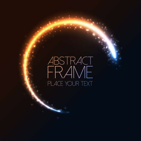 Glittering star dust circle frame. Vector