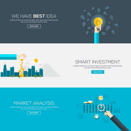 フラット デザイン バナーという最高のアイデア、スマートな投資および市場分析があります。ベクトル