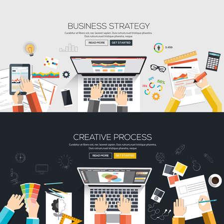 비즈니스 전략과 창조적 인 과정 플랫 디자인 배너입니다. 벡터