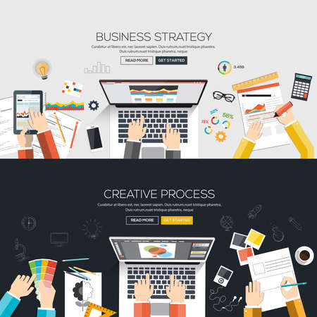 Flat designed banners for Business strategy and Creative process. Vector Çizim