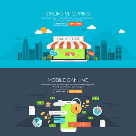 Flat design illustration concepts for Online shopping and Mobile banking. Concepts web banner and printed materials.Vector