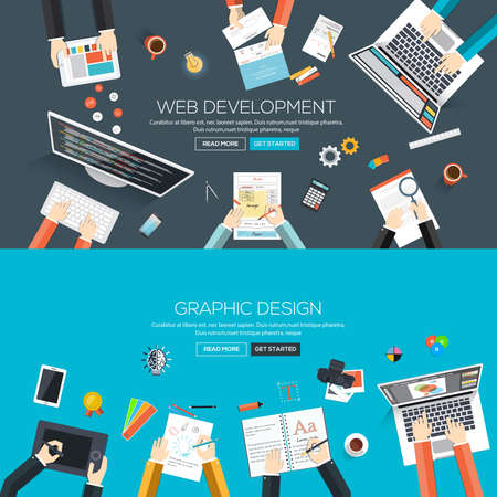 development process: Flat designed banners for web development and graphic design. Vector