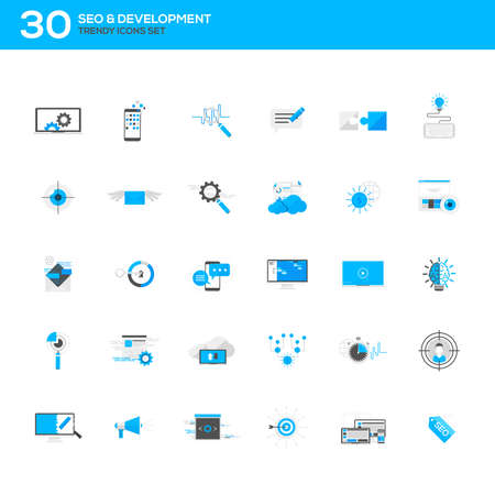 keywording: Set of modern flat design SEO and development icons.Creative concepts and design elements for mobile and web applications. Vector Illustration