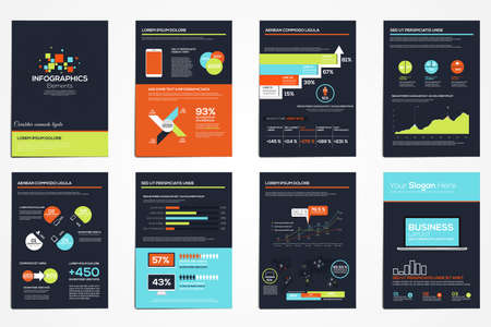 slide show: Business infographics elements for corporate brochures. Collection of modern infographic elements in a flyer and brochure concept. Vector Illustration