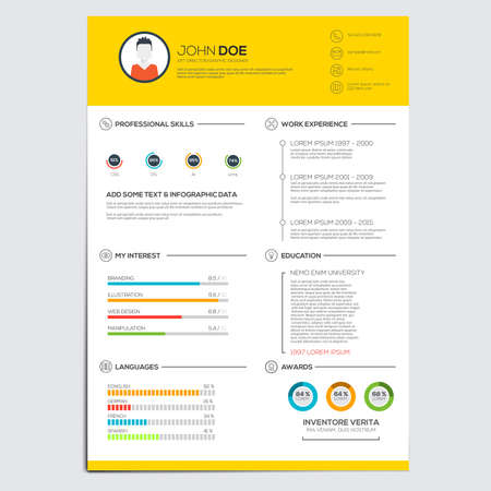 Minimal business infographics elements. Resume cv set. Vector Illusztráció