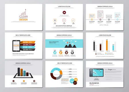 website template: Business infographics elements for corporate brochures. Collection of modern infographic elements in a flyer and brochure concept. Flat design. Vector