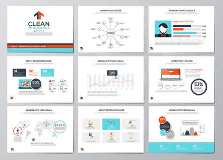 Business infographics elements for corporate brochures. Collection of modern infographic elements in a flyer and brochure concept. Flat design. Vector Stok Fotoğraf - 39031629