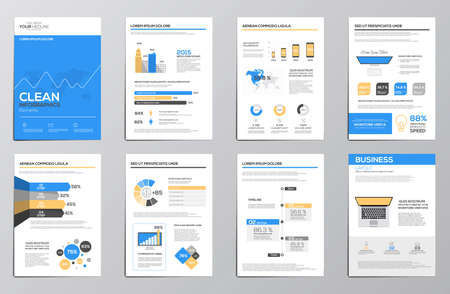 document: Business infographics elements for corporate brochures. Collection of modern infographic elements in a flyer and brochure concept. Flat design. Vector