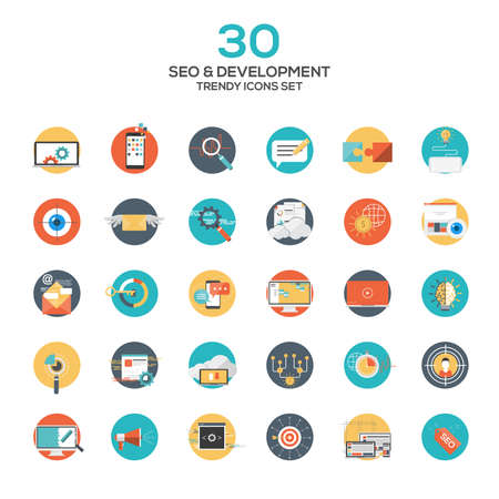 Set of modern flat design SEO and development icons.Creative concepts and design elements for mobile and web applications. Vector Stock Vector - 39320096