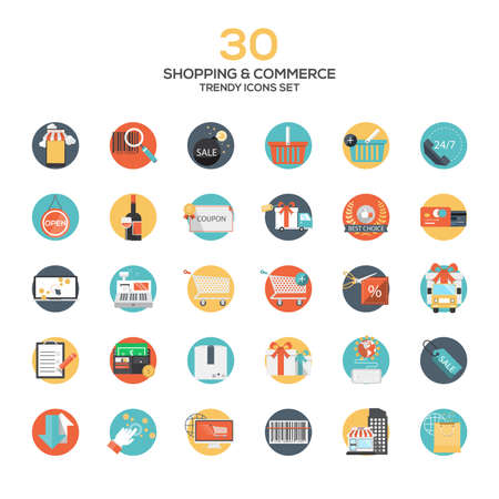 Conjunto de modernos de diseño Compras y comercio plana icons.Creative conceptos y elementos de diseño para aplicaciones móviles y web. Vector Ilustración de vector