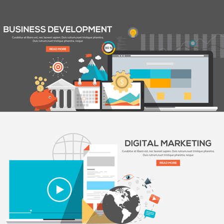 비즈니스 개발 및 디지털 마케팅 플랫 디자인 일러스트 레이 션 개념입니다. 개념 웹 배너 및 인쇄 materials.Vector