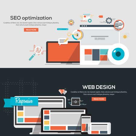 Seo の最適化と Web デザインのフラットなデザイン図概念。概念、web バナーや印刷物。ベクトル  イラスト・ベクター素材