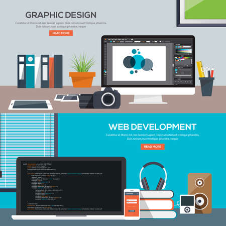 web development: Flat designed banners for graphics design and web development. Vector