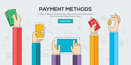 internet terminals: Flat design illustration concepts for Payment Methods. Concepts web banner and printed materials.Vector