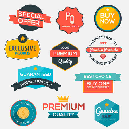 exclusive icon: Collection of modern, flat design-styled labels and design elements. Vector