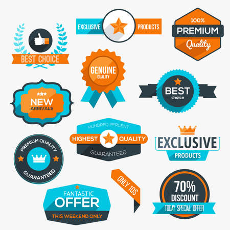 guarantee: Collection of modern, flat design-styled labels and design elements. Vector