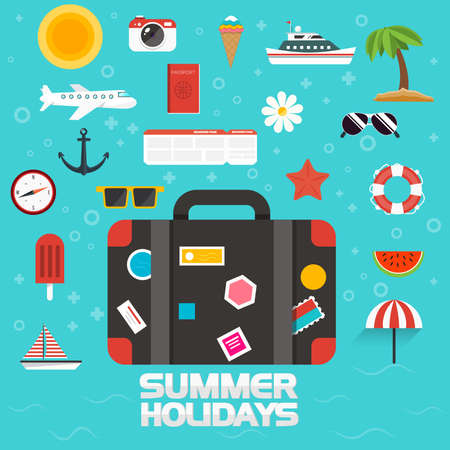 flying boat: Flat design modern  illustration icons set for traveling, summer vacation and tourism. Vector