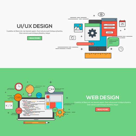 internet services: Set of Flat Line Banner Design Concept for UI design and Web Design.  Illustration