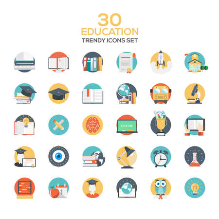 knowledge concept: Set of modern flat design Education icons.Creative concepts and design elements for mobile and web applications. Vector Illustration