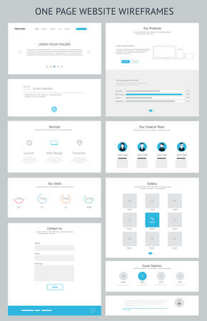 website layout: Flat responsive one page website wireframe kit. Vector Illustration