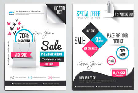 promotional offer: Flyer Design Template. Sale and shopping  concept, Abstract Modern Design, Business brochure. Vector