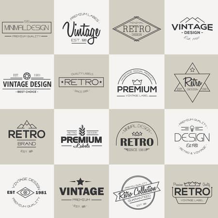 bundle: Minimal vintage Labels and badges collection. Line style. Modern and minimalism design. Vector