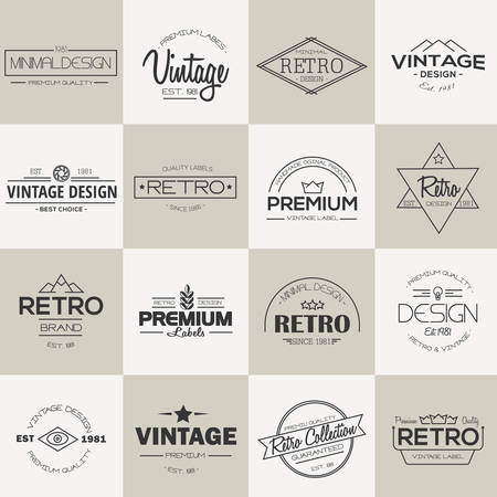 Minimal vintage Labels and badges collection. Line style. Modern and minimalism design. Vector