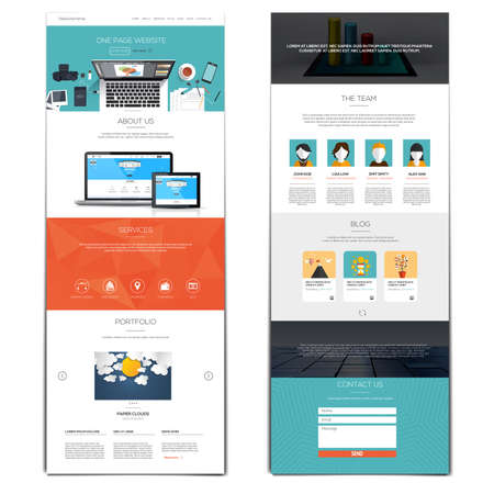 버튼과 평면 아이콘의 한 페이지 및 설정 템플레이트 웹 사이트 인터페이스. 현대 평면 스타일. 벡터 일러스트