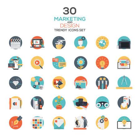 iconos: Conjunto de diseño plano de Marketing y Diseño icons.Creative conceptos modernos y elementos de diseño para aplicaciones móviles y web. Vector