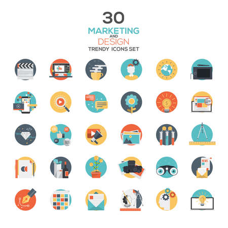 Set van moderne platte ontwerp Marketing and Design icons.Creative concepten en design elementen voor mobiele en web applicaties. Vector Stock Illustratie
