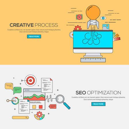 proceso: Conjunto de Flat Line Banners concepto de diseño para el proceso creativo y la optimización SEO. Conceptos banner web y materials.Vector impresa
