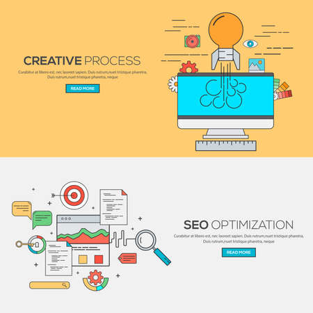 seo process: Set of Flat Line Banners Design Concept for Creative process and Seo optimization. Concepts web banner and printed materials.Vector
