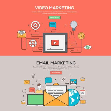 correo electronico: Conjunto de Flat Line Banners concepto de diseño para Video Marketing y Marketing por correo electrónico. Conceptos banner web y materials.Vector impresa Vectores