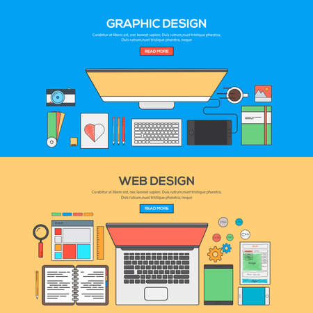 Set of Flat Line Banner Design Concept for Graphics design and Web design. Concepts web banner and printed materials.Vector