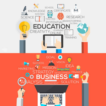 Flat Designed Banners Concept of Education and business. Icons Collection of Creative Work Flow Items and Elements. Vector