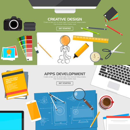 creative: Flat Designed Banners Concept of Creative Design and Apps Development. Icons Collection of Creative Work Flow Items and Elements. Vector Illustration