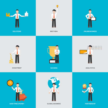 ides: Business people in various characters. Infographics with flat design character. Vector Illustration