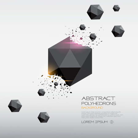 place for your text: Abstract polyhedrons background design. Crystals. Place for your text. Vector Illustration