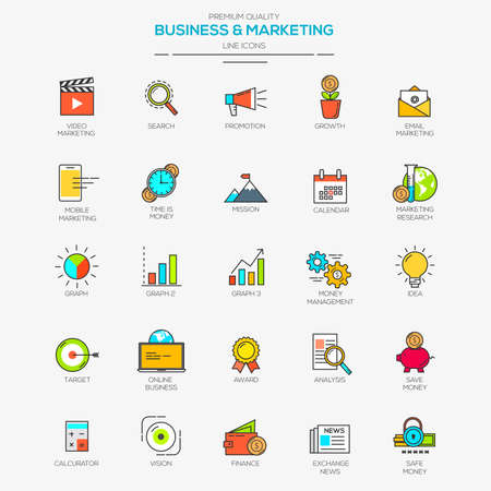 Flat Line Modern Color icons for Business and Marketing. Vector