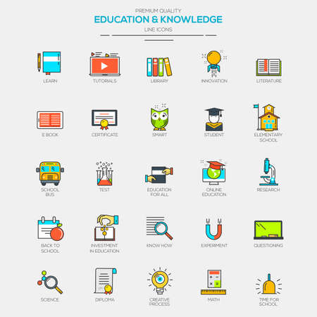 Flat Line Modern Color icons for Education and Knowledge. Vector Ilustracja