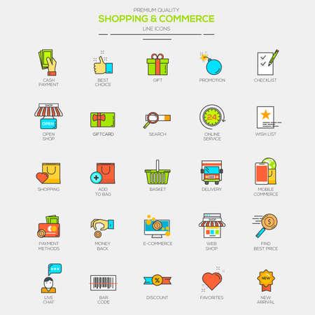상업: 쇼핑 및 상업 플랫 선 현대 컬러 아이콘. 벡터