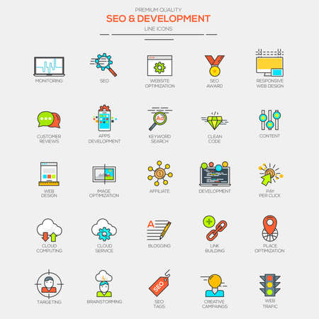 Flat Line Modern Color icons for Seo and Development. Vector Imagens - 41081503