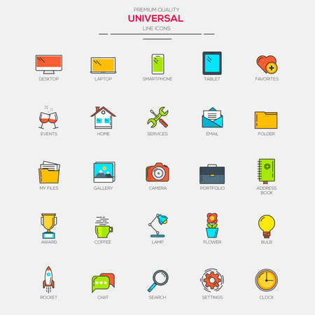 universal icons: Flat Line Modern Color Universal icons. Vector