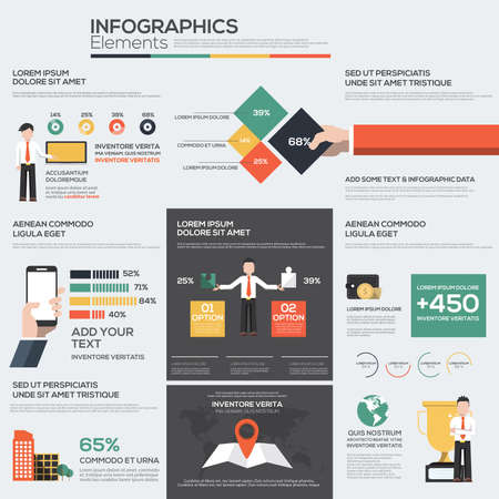 Business infographics elements for corporate brochures. Collection of modern infographic elements. Flat design. Vector Ilustracja
