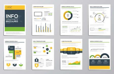 기업 브로셔 비즈니스 인포 그래픽 요소. 전단지 및 책자 개념에 현대적인 인포 그래픽 요소의 컬렉션입니다. 평평하고 깨끗한 디자인. 벡터 일러스트