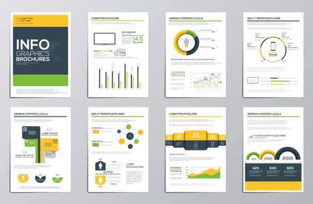 presentations: Business infographics elements for corporate brochures. Collection of modern infographic elements in a flyer and brochure concept. Flat and clean design. Vector